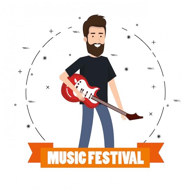 Festival de música ao vivo com o homem tocando guitarra elétrica Vetor grátis