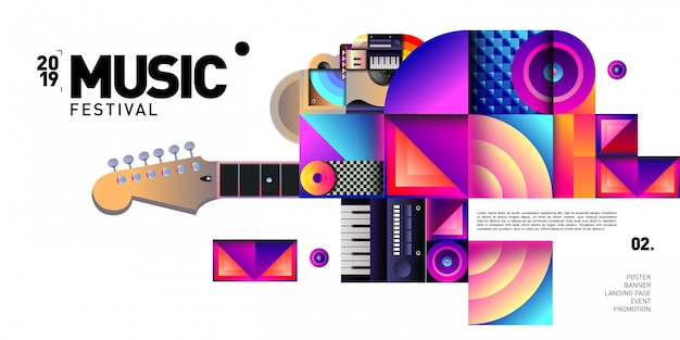 Festival de música colorida de vetor para banner de evento e poster Vetor Premium