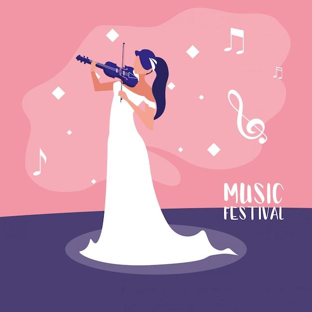 Festival de música com mulher tocando violino Vetor Premium