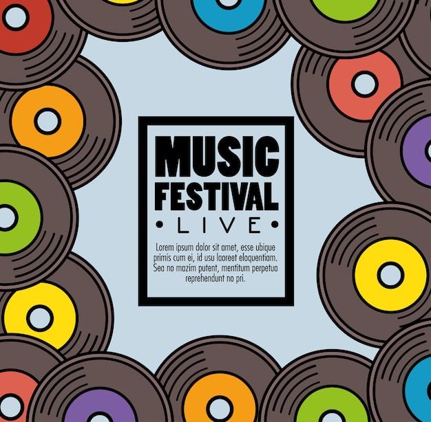Festival de música de banner ao vivo Vetor Premium
