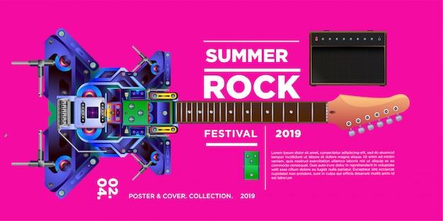Festival de música e guitarra rock de ilustração vetorial Vetor Premium