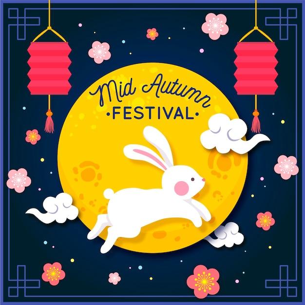 Festival de outono desenhado à mão com coelho e lua Vetor Premium