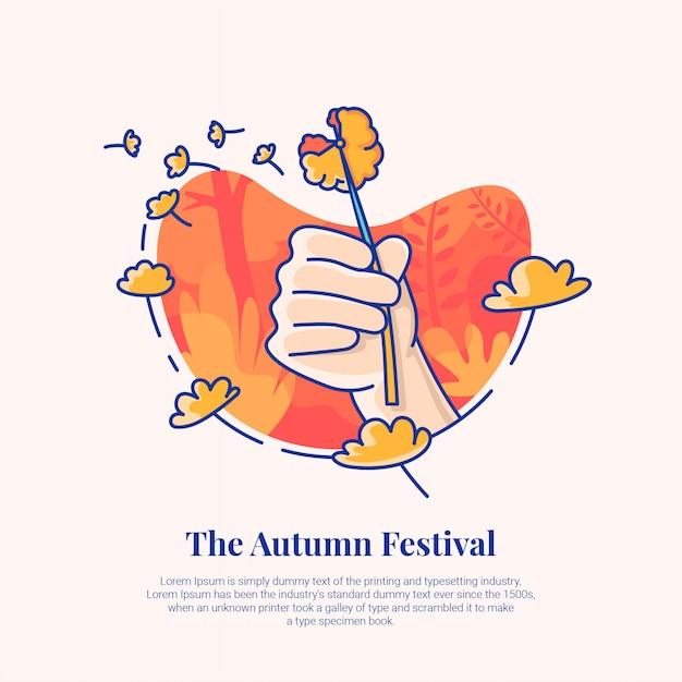 Festival de outono-leão Vetor Premium