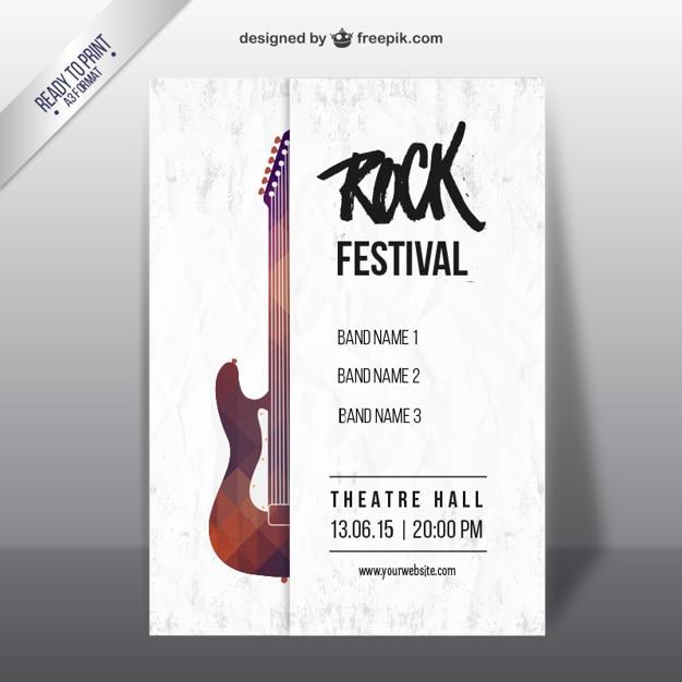 Festival de rock com uma guitarra poster geométrico Vetor grátis