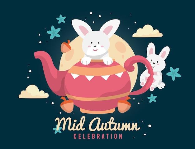 Festival do meio do outono com bule de chá e coelho Vetor grátis