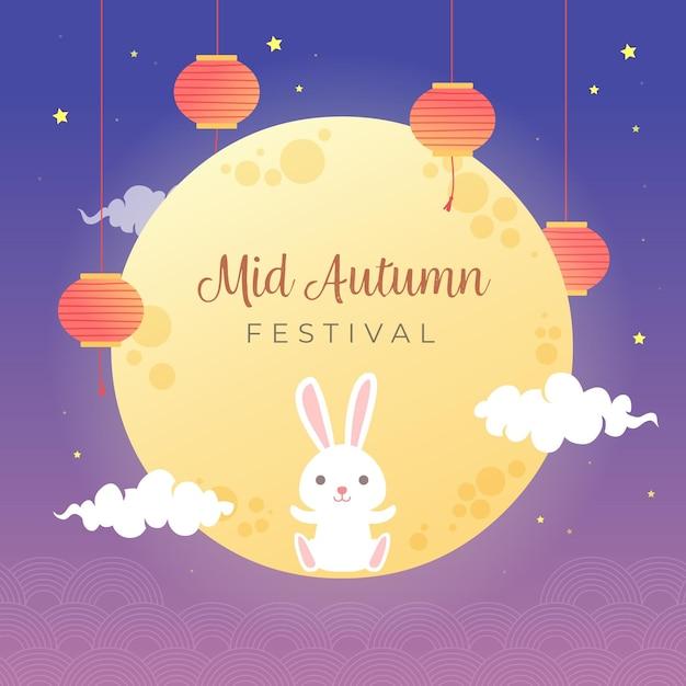 Festival do meio do outono com lua e coelho Vetor Premium