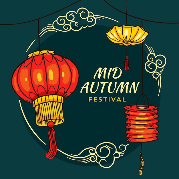 Festival do meio do outono desenhado à mão Vetor Premium