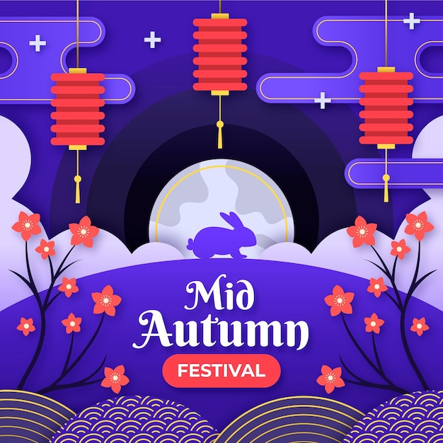 Festival do meio do outono em estilo jornal Vetor grátis