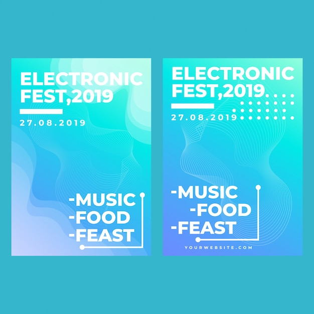 Festival eletrônico de banner web quadrado moderno para aplicativos móveis de mídia social Vetor Premium