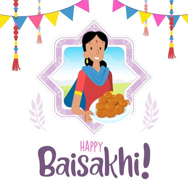 Festival indiano de baisakhi com mulher e sobremesa Vetor grátis