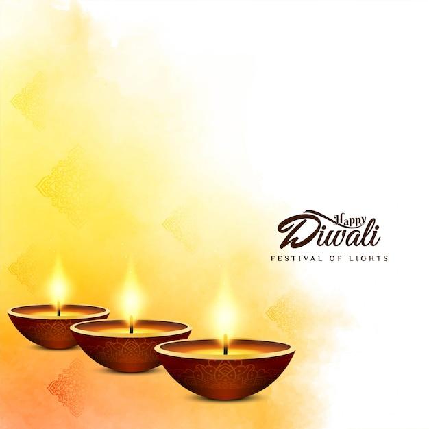 Festival indiano feliz diwali fundo amarelo brilhante Vetor grátis