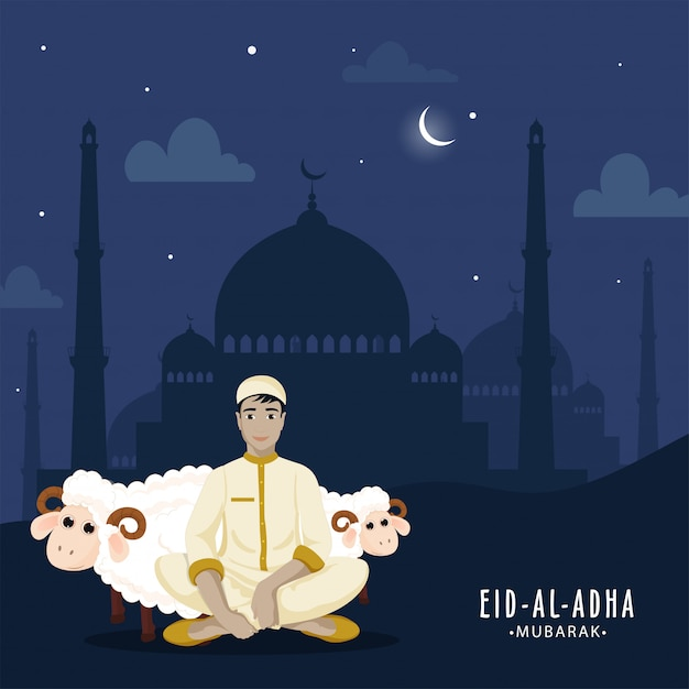Festival islâmico conceito de eid al-adha. Vetor Premium