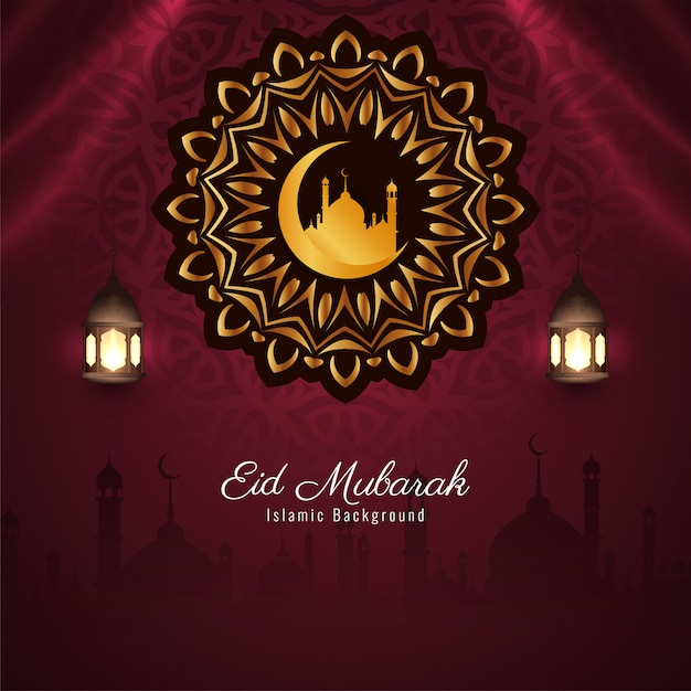 Festival islâmico eid mubarak fundo elegante Vetor grátis