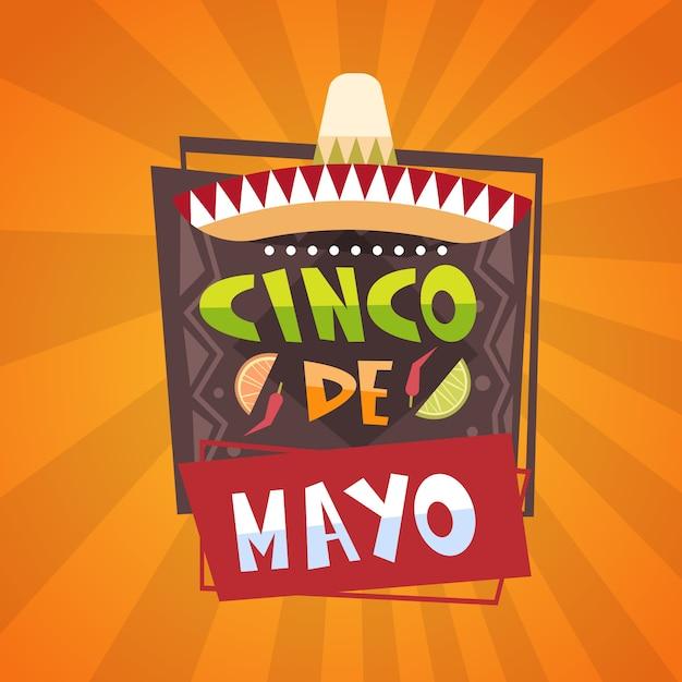 Festival mexicano tradicional cartaz cartão de cinco de mayo feriado design de cartão Vetor Premium