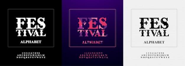Festival moderno alfabeto e conjunto de fontes numéricas Vetor Premium