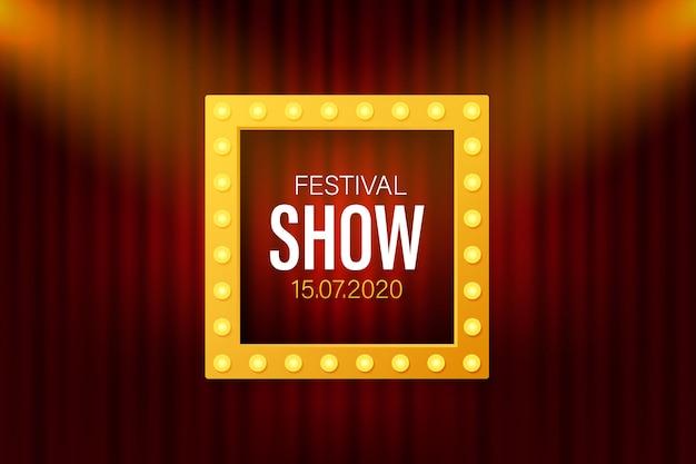 Festival show cartaz com destaque. concerto, festa, teatro, cinema Vetor Premium