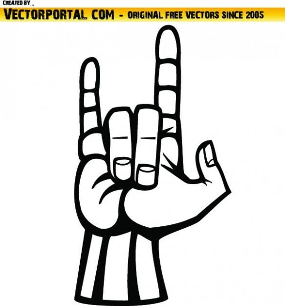 Fevils chifres sinal da mão Vetor grátis