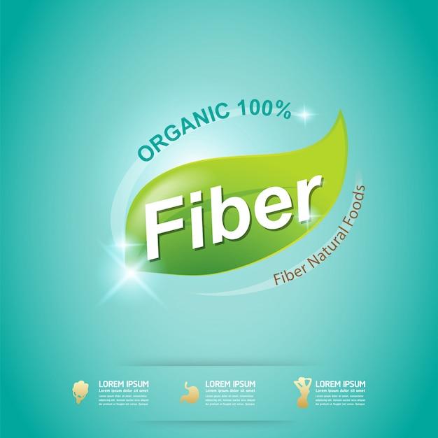 Fibra em rótulo de conceito de vetor verde alimentos orgânicos Vetor Premium