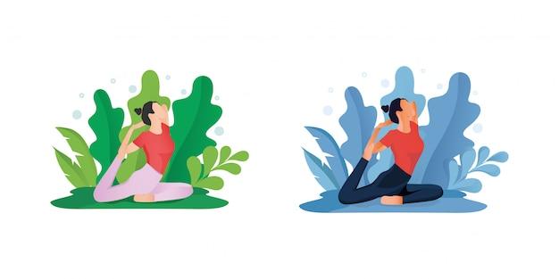 Ficar em casa conceito ou mulheres fazendo yoga Vetor Premium