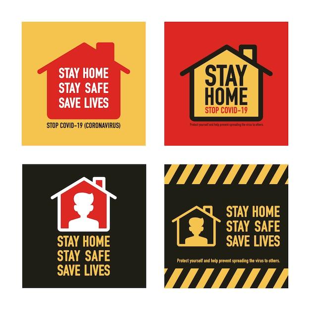 Ficar em casa, ficar salvar, salvar vidas conceito de design de sinalização. pare o covav-19 coronavirus novel coronavirus (2019-ncov). Vetor Premium