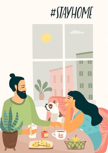 Ficar em casa. jovem e mulher estão sentados estão bebendo chá e conversando. ilustração. Vetor Premium