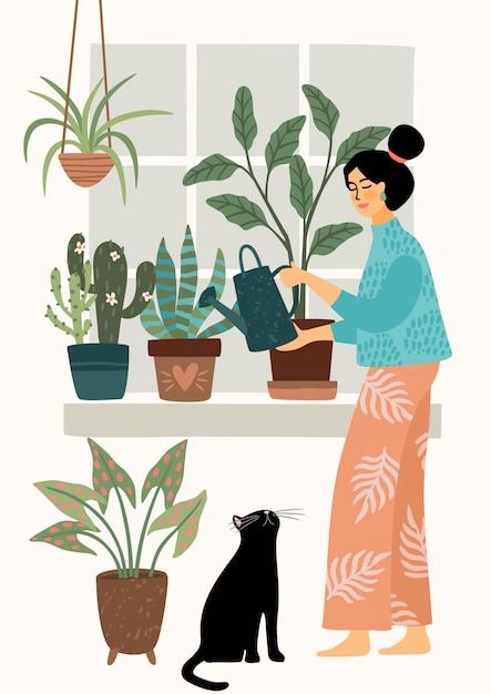 Ficar em casa. rega de casa mulher. ilustração. Vetor Premium