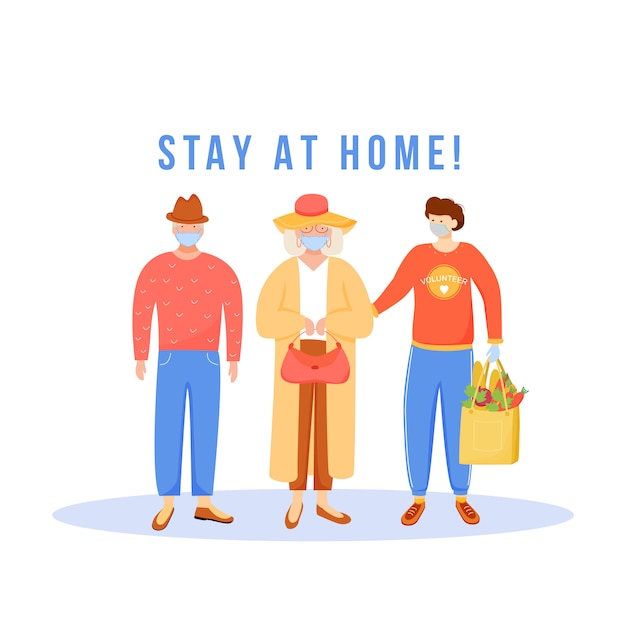 Ficar em casa Vetor Premium