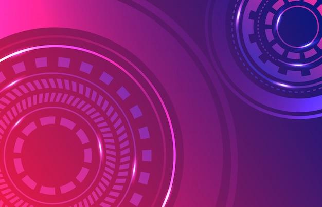 Ficção científica futurista abstrato tecnologia digital papel de parede Vetor Premium