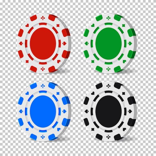 Fichas de cassino de cor isoladas em fundo transparente. Vetor Premium