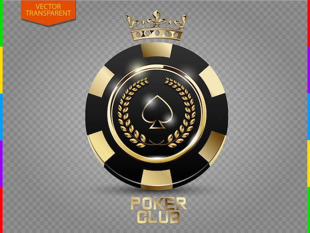 Fichas de poker preto e dourado Vetor Premium