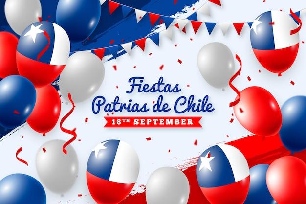 Fiestas patrias de chile com balões e bandeiras Vetor grátis