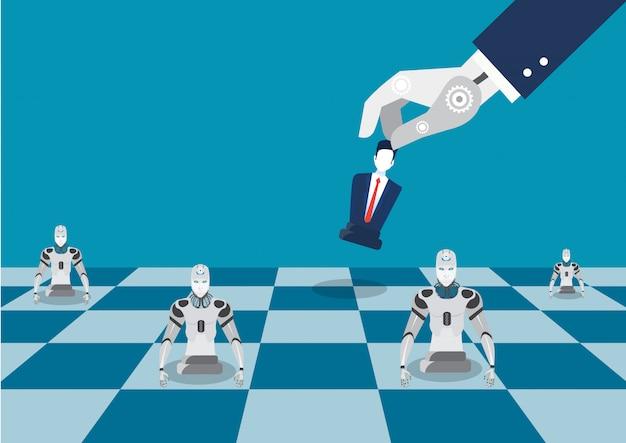 Figura da xadrez do jogo da mão do robô. ilustração plana da estratégia de xadrez robô em vez disso, conceito de empresário Vetor Premium
