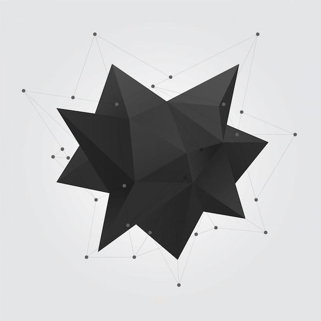 Figura de forma geométrica poligonal preta Vetor Premium