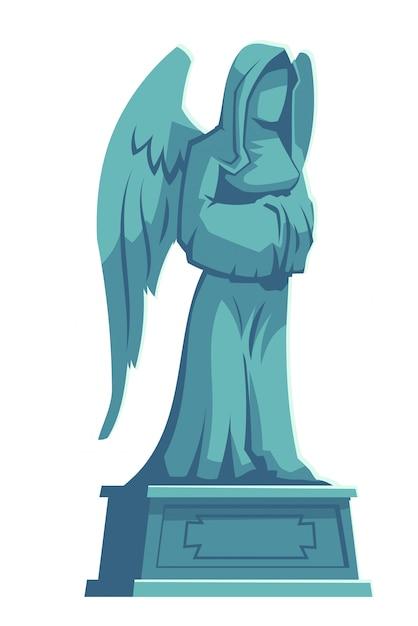 Figura de pedra do anjo, memorial da lápide do cemitério Vetor grátis