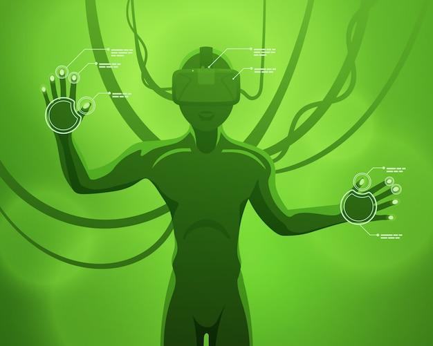 Figura masculina futurista no fone de ouvido de realidade virtual Vetor Premium