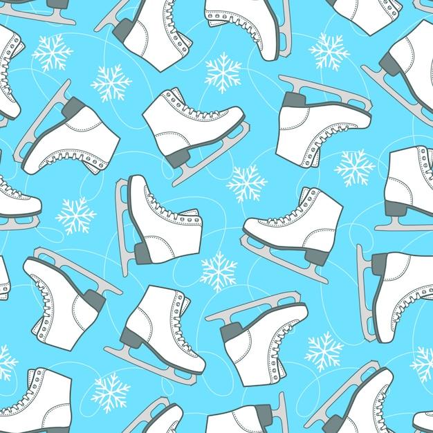Figura patins e flocos de neve na pista azul. padrão sem emenda vector. Vetor Premium