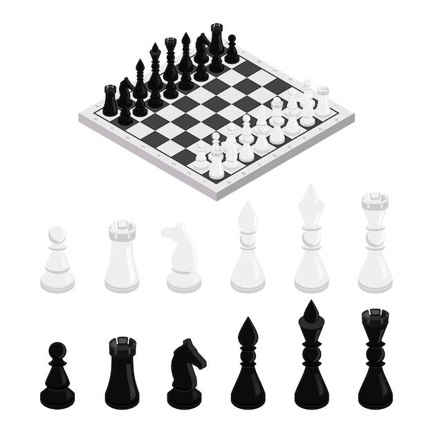 Figuras na ilustração isométrica do tabuleiro de xadrez, conjunto de peças de xadrez preto e branco, rei, rainha, bispo, cavalo, torre e peão, esporte intelectual clássico, lazer, jogo tático, pensamento estratégico Vetor Premium