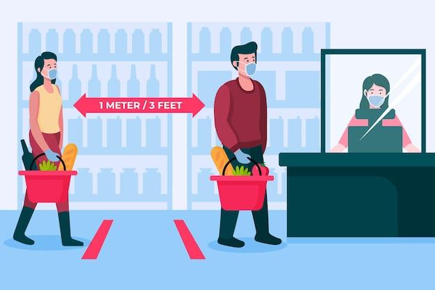 Fila de supermercado com distância de segurança Vetor grátis