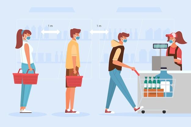 Fila de supermercado com distância de segurança Vetor Premium