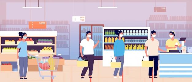 Fila no caixa do supermercado. carrinhos de clientes de supermercado. pessoas com máscaras protetoras mantêm distância. epidemia pandêmica de coronavírus ou global. compradores na fila de espera Vetor Premium