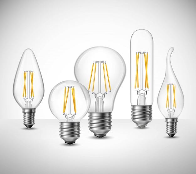 Filament led lightbulbs realistic set Vetor grátis