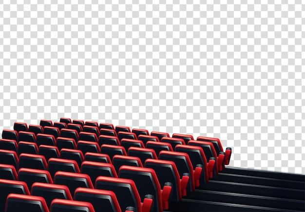 Filas de assentos de cinema ou teatro vermelhos na frente de fundo transparente Vetor Premium