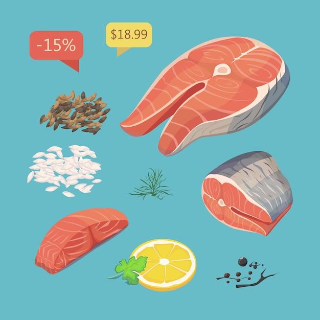 Filé de salmão. conjunto de produtos de frutos do mar. Vetor Premium