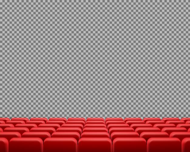 Fileiras realistas de assentos de cinema ou teatro vermelhos ...