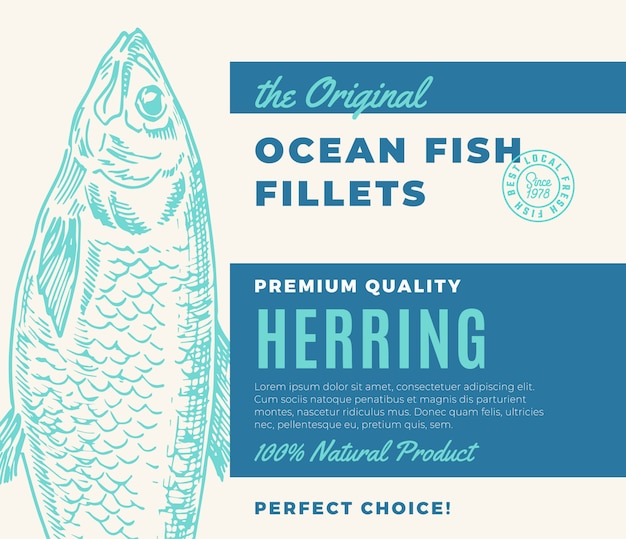 Filetes de peixe de qualidade premium. projeto de embalagem de peixe abstrato ou rótulo. tipografia moderna e layout de fundo de silhueta de arenque desenhado à mão. Vetor Premium