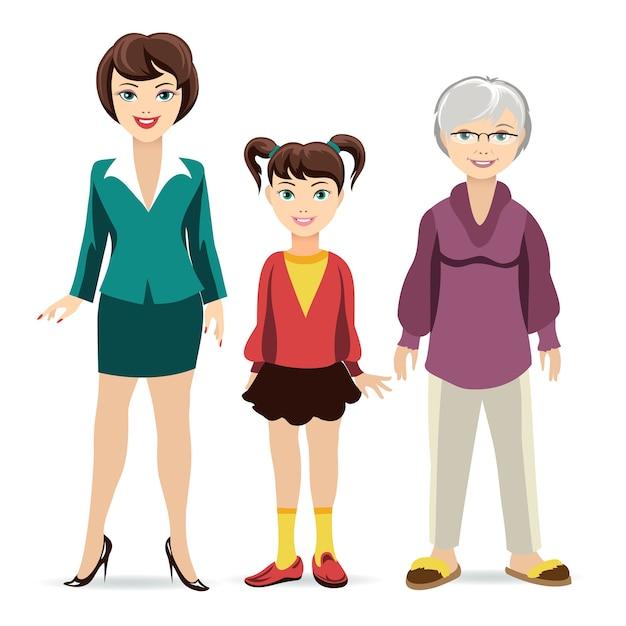 Filha, mãe e avó. geração e juventude, maturidade e velhice. Vetor grátis