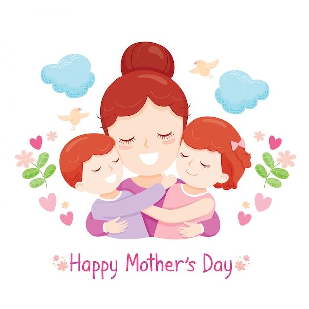 Filho e filha abraçando sua mãe Vetor Premium