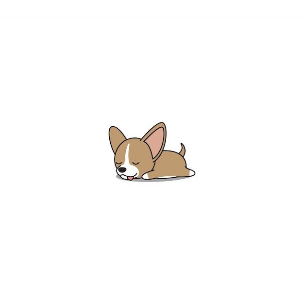 Filhote de cachorro bonito da chihuahua que dorme desenhos animados Vetor Premium