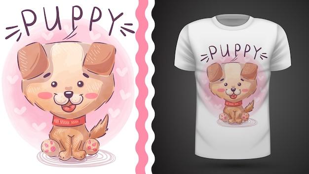 Filhote de cachorro bonito - ideia para imprimir camiseta Vetor Premium