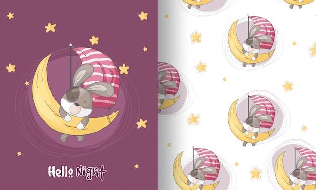 Filhote de cachorro bonito sonhando ilustração padrão sem emenda para crianças Vetor Premium